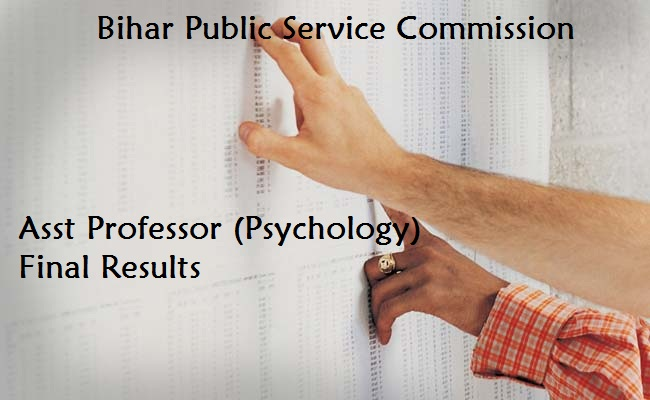 BPSC Results 2017 – Asst Professor (Psychology) Final Results-Download Now!!!