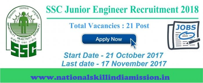 Staff Selection Commission - SSC Recruitments - Junior Engineers Group-B - Apply Online - Last date 17 November 2017