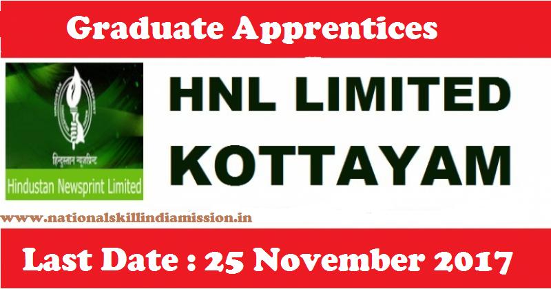 Hindustan Newsprint Limited - HNL Recruitment - 12 Graduate Apprentices - Apply before 25 November 2017