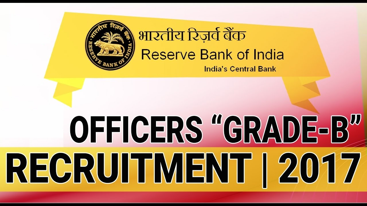 Reserve Bank of India - RBI Recruitment - 06 PhDs in Grade 'B' - Apply Online - Last Date 08 December 2017