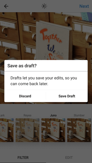 SAVE DRAFT Feature in Instagram!