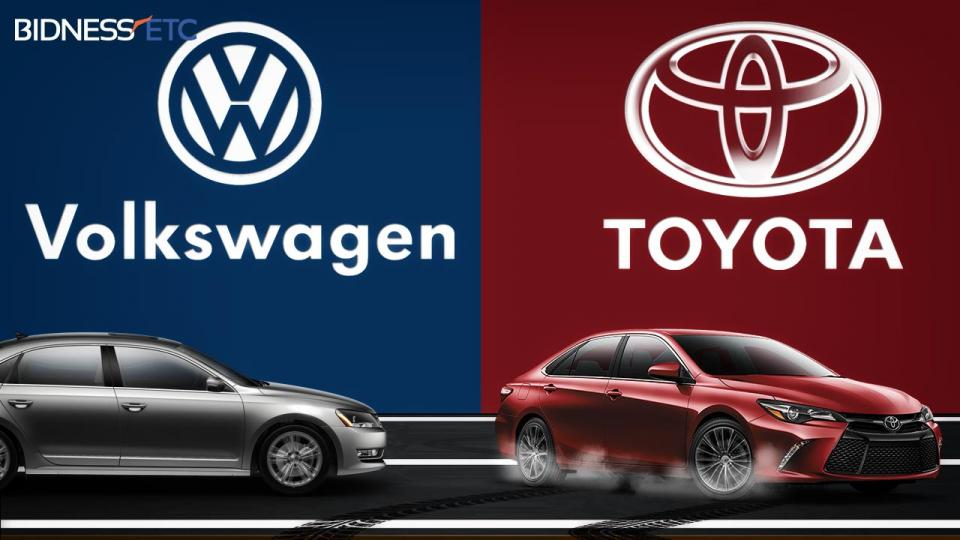 Toyota Motor Corp and Volkswagen AG gets increasingly tighter. As the race between global giants Toyota Motor Corp and Volkswagen AG gets increasingly tighter, the answer likely will remain in doubt for months to come.