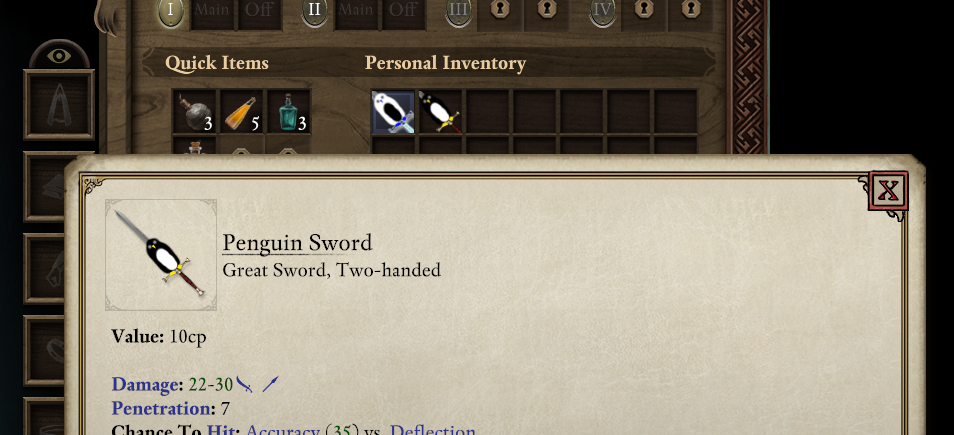 In-game screenshot showing that I have successfully stacked a penguin on top of a sword for some reason.