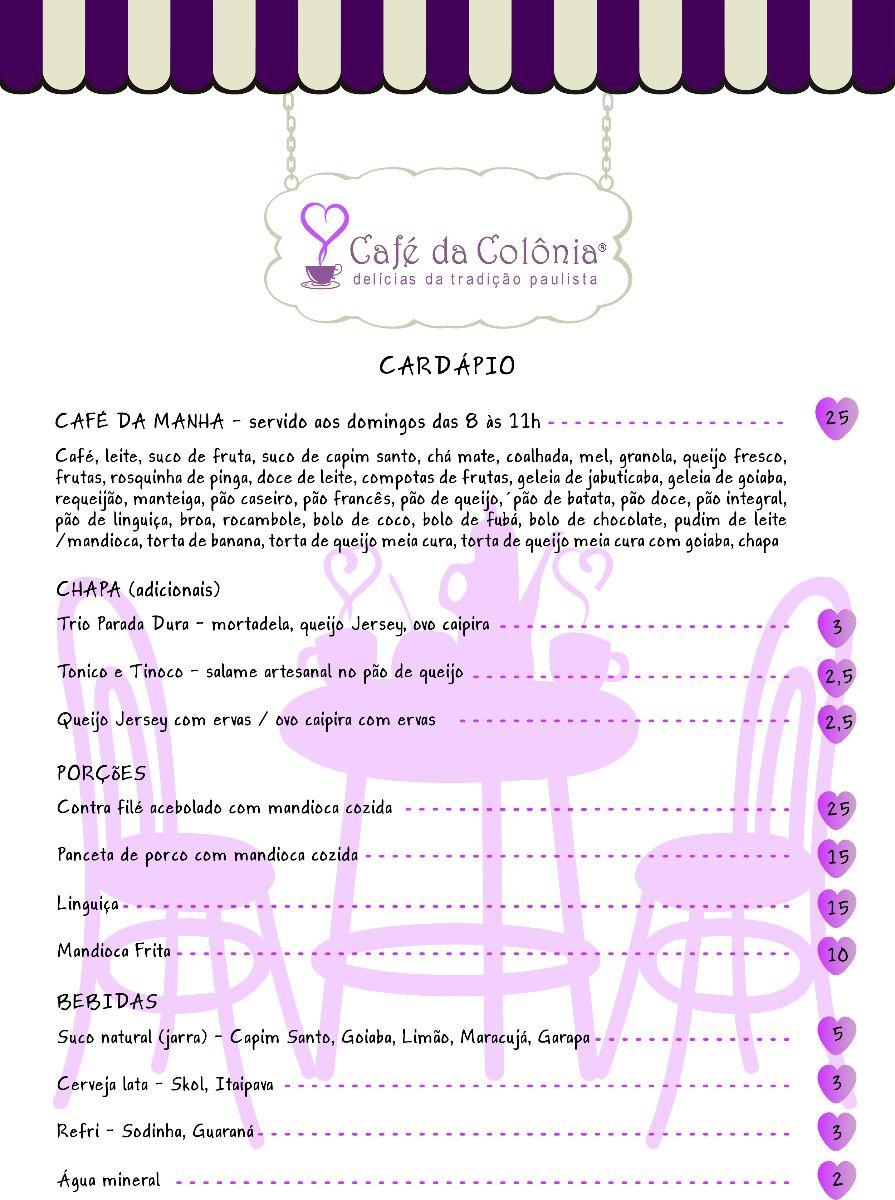 Cardápio Café da Colônia