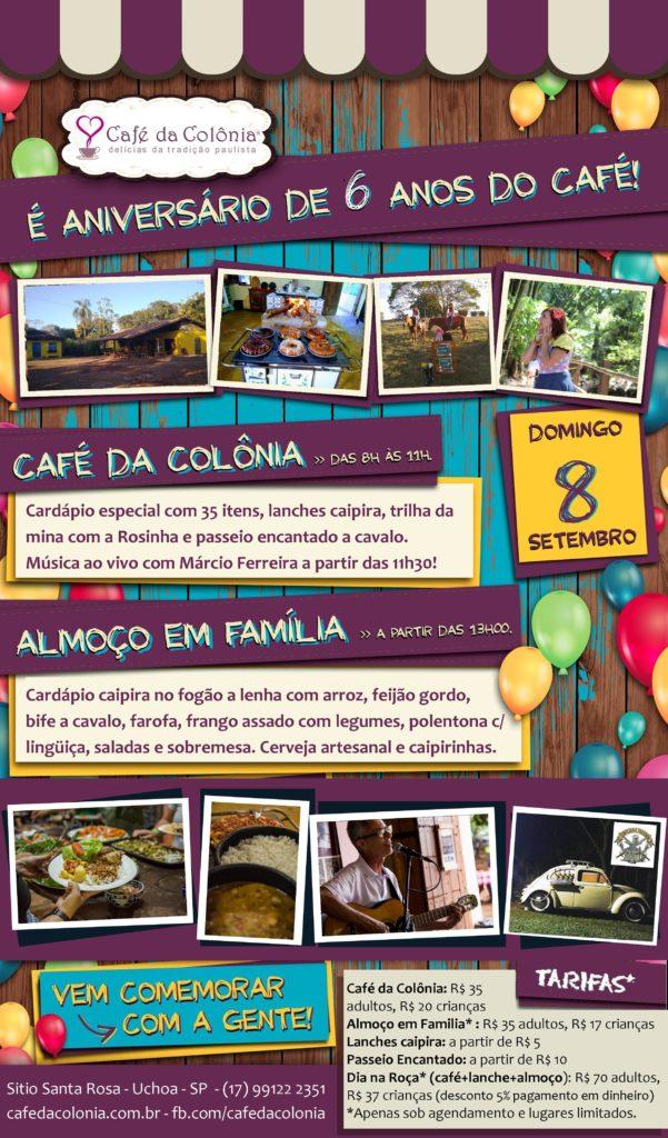 É ANIVERSÁRIO DE 6 ANOS DO CAFÉ!!!
