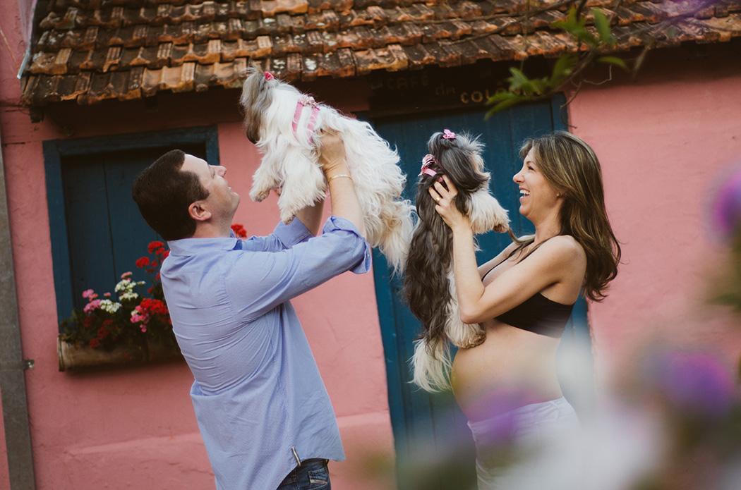 Ensaio fotográfico da Tati, do Marcio, da Mel e da Cacau esperando a Sofia