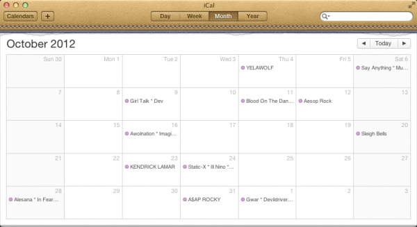 A venue's events in an iCal calendar