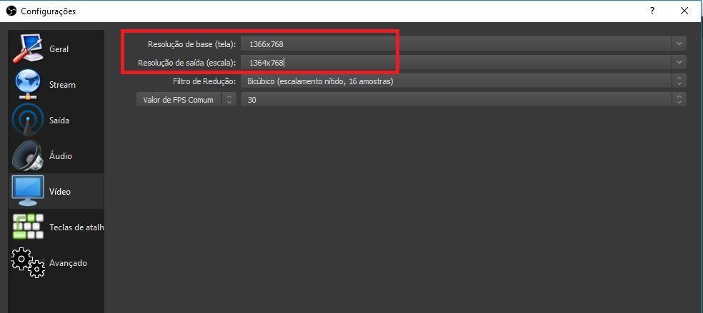 Como gravar a tela do pc - Imagem da interface do programa OBS Studio, em configurações indicando onde mudar a resolução do monitor