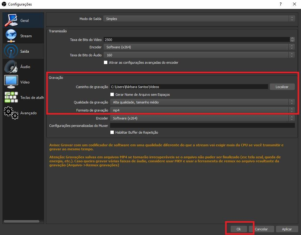 Como gravar a tela do pc - Imagem da interface do programa OBS Studio tela de saída indicando as configurações de gravação
