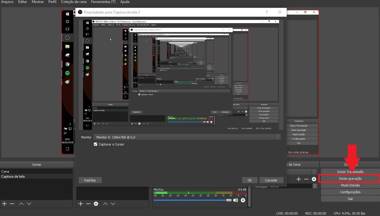 Como gravar a tela do pc - Imagem da interface do programa OBS Studio indicando onde clicar para iniciar gravação