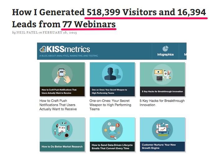 Como gerei 618,399 visitantes e 16,394 leads a partir de 77 webinars