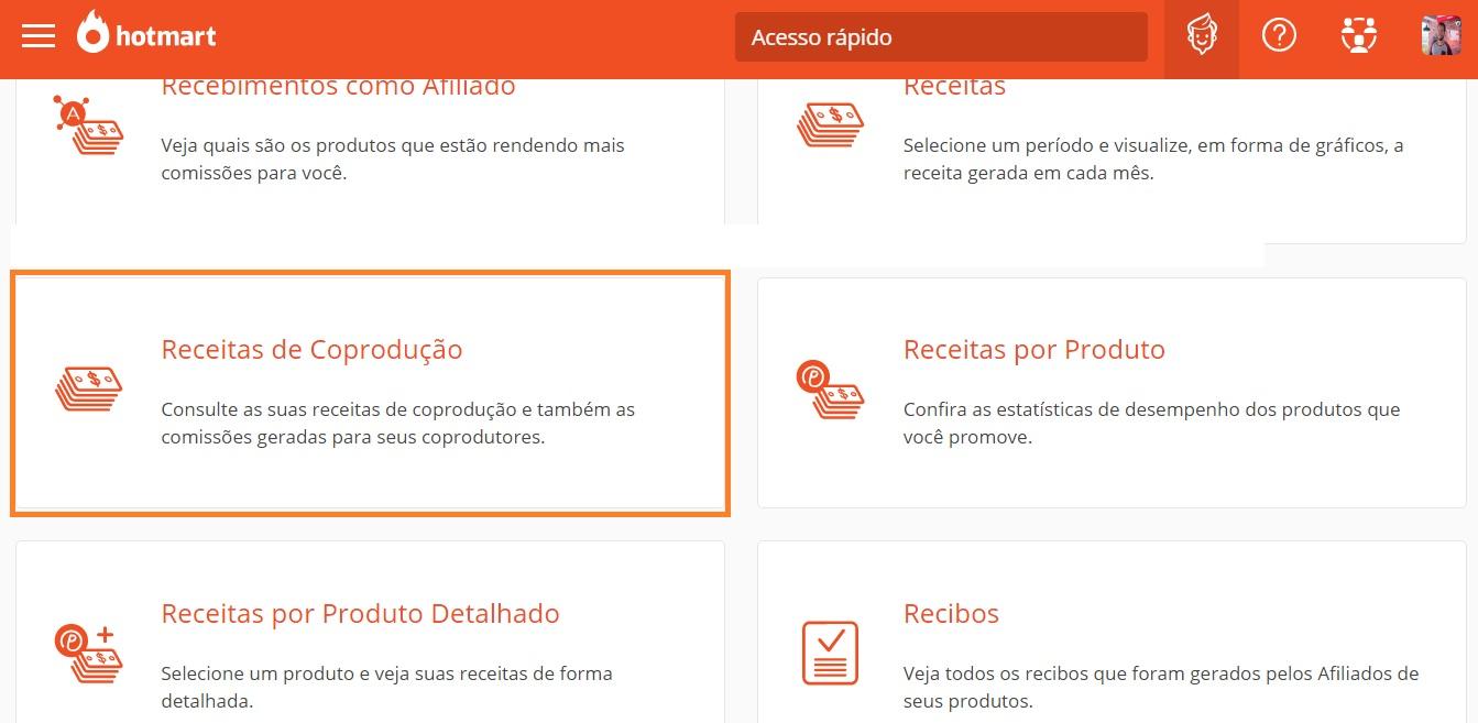 Coprodutor pode clicar e consultar suas receitas clicando em Receitas de Coprodutor