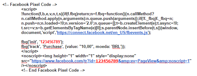 Números e códigos do novo pixel do Facebook