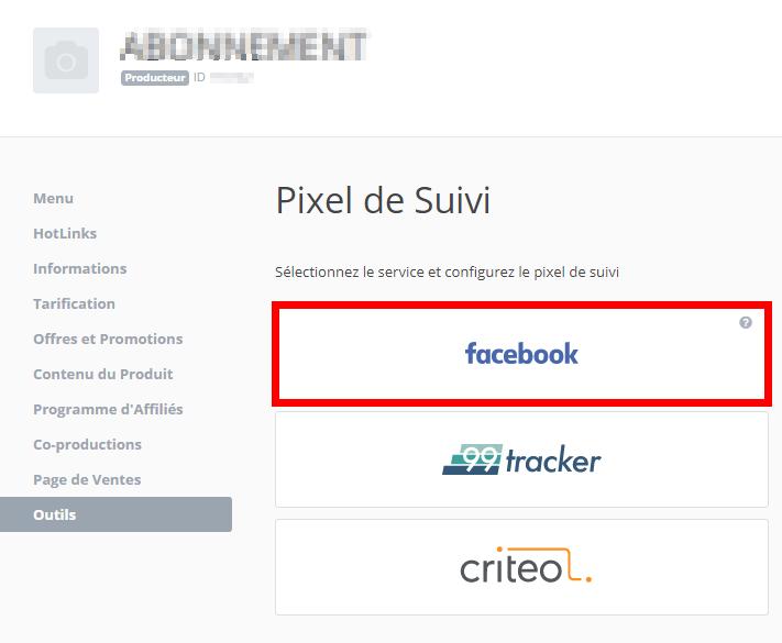 Dans outils le nouveau pixel de Facebook