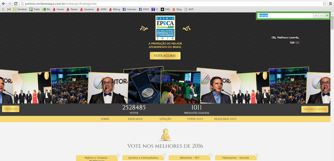 Tela de votação do Prêmio Época Reclame AQUI.