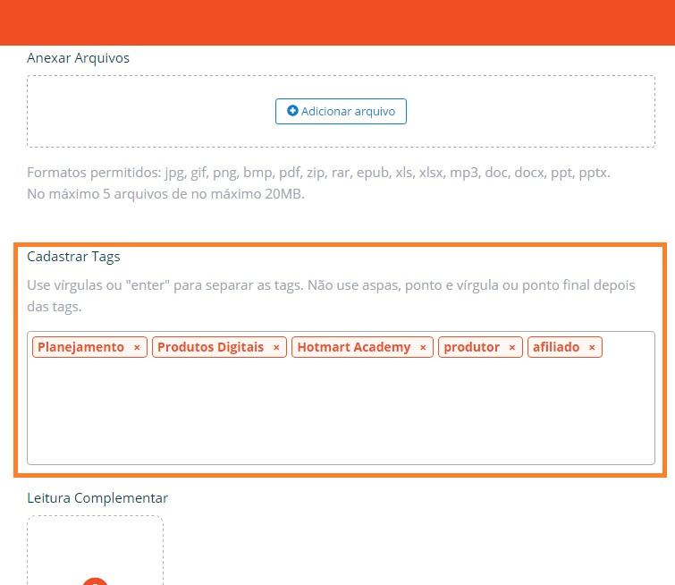 Na imagem, recurso do Hotmart Club para cadastrar tags e facilitar a segmentação de seu conteúdo
