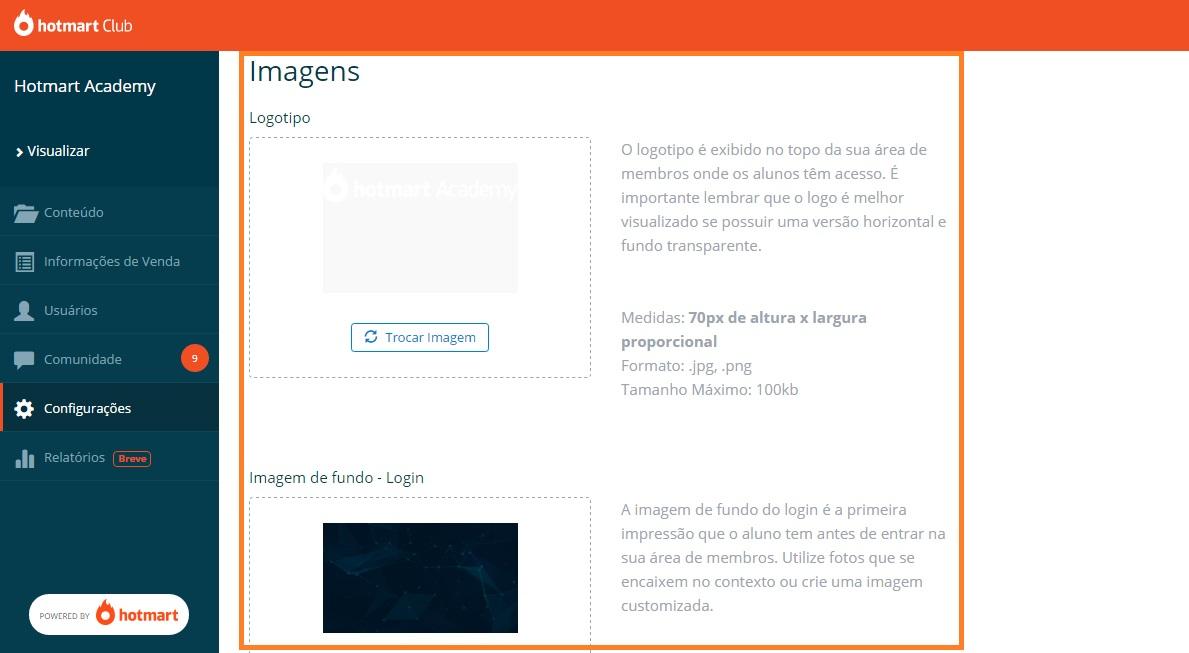 """Na imagem, opção de inserir """"Imagens"""", no Hotmart Club"""