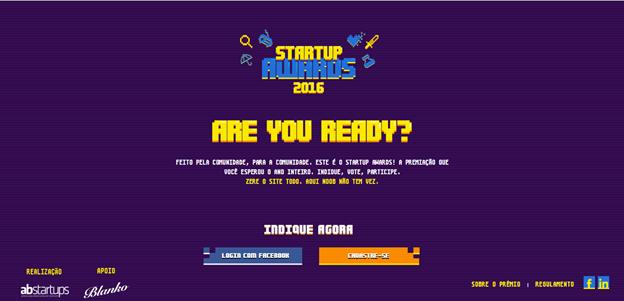 Na imagem, tela de login do Startup Awards 2016