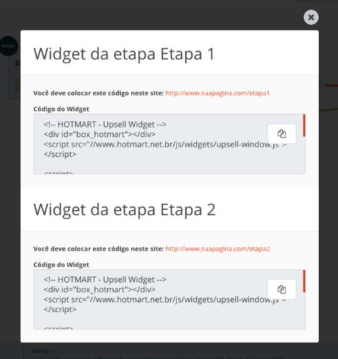 Na imagem, a lista dos códigos de widget do funil de vendas