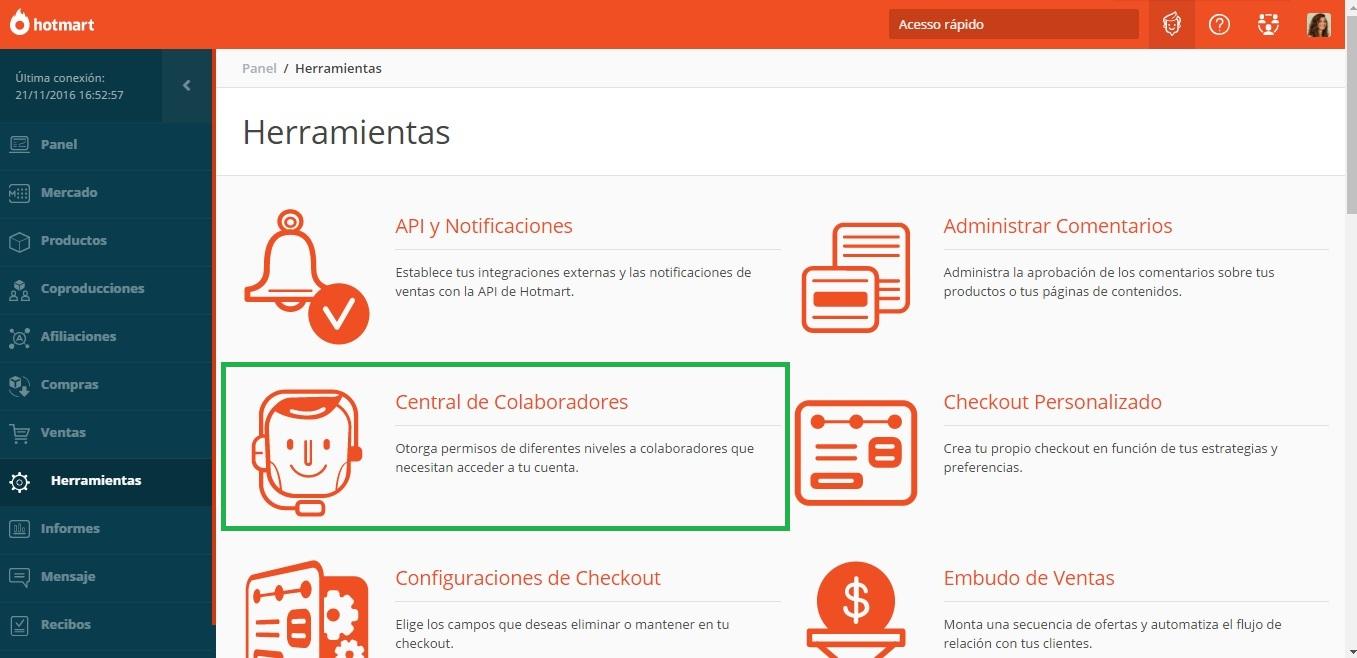 """2) En Herramientas, busca """"Central de Colaboradores""""."""