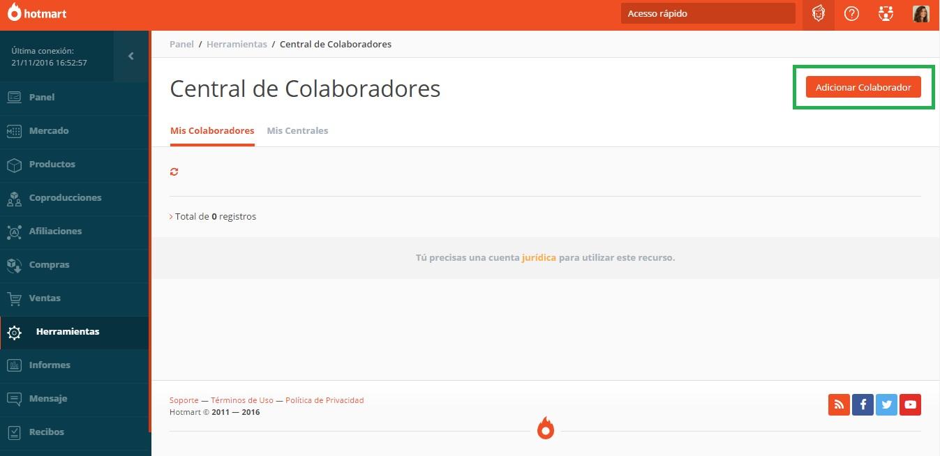 En Central de Colaboradores, haz clic en Adicionar Colaborador para introducir un nuevo acceso personalizado.