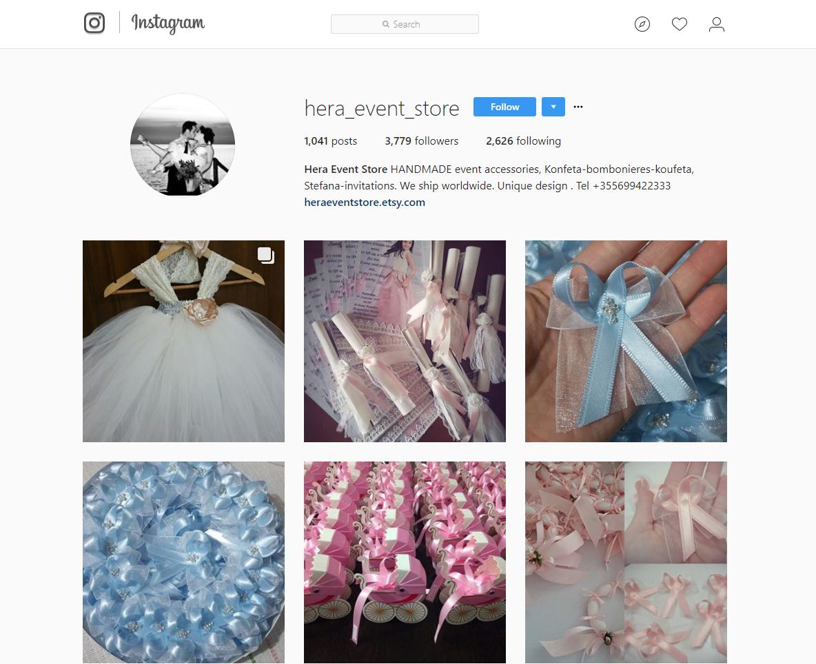 Cómo vender en Instagram - Perfil de una tienda de accesorios para eventos hechos a mano