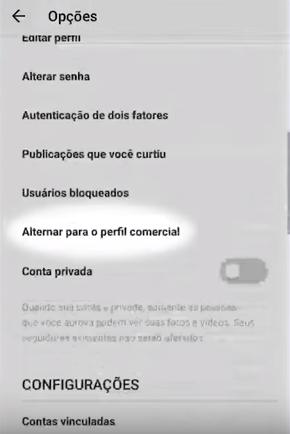 perfil comercial no instagram - print indicando onde se altera para perfil comercial no instagram