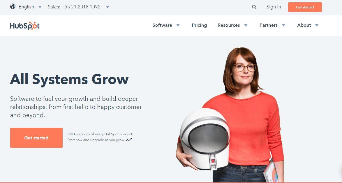 Landing pages - imagem do site da Hubspot