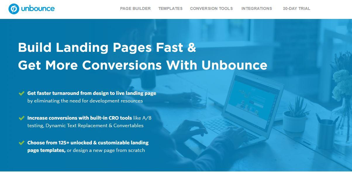 Landing pages - imagem do site da Unbounce