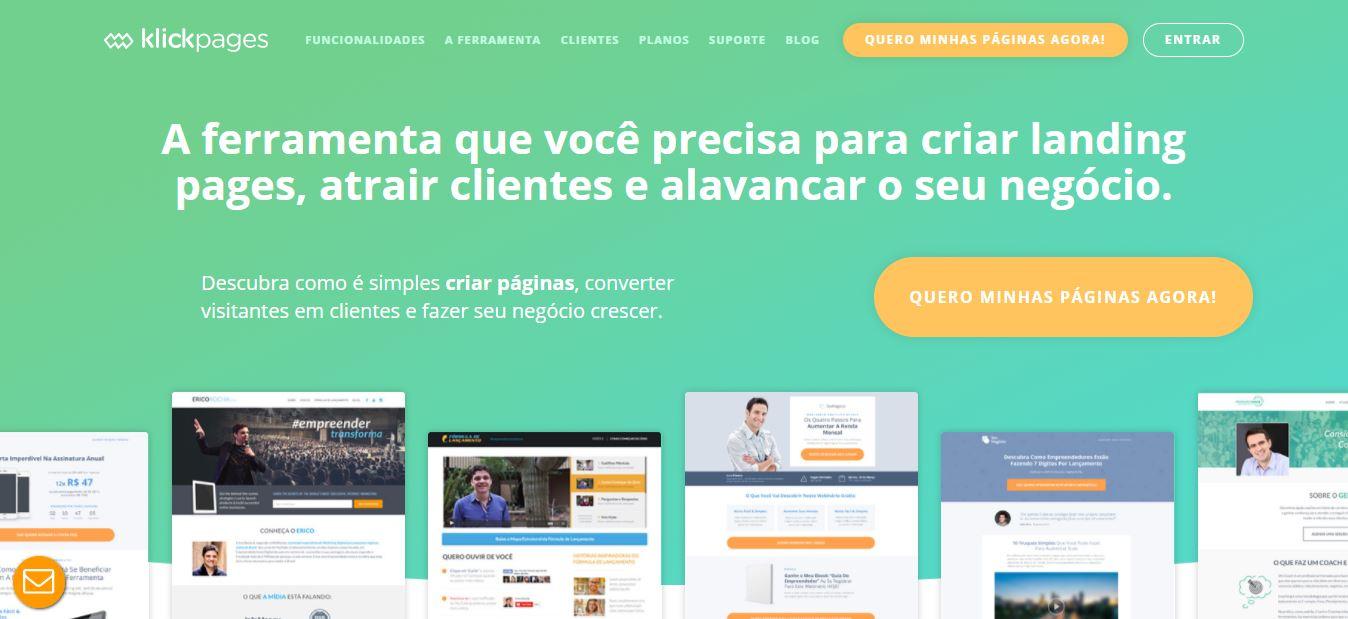 Landing pages - imagem do site da klickpages