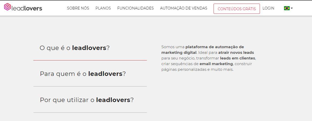 Landing pages - imagem do site da lead lovers