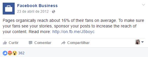 postagem sobre alcance no Facebook, na fanpage do Facebook