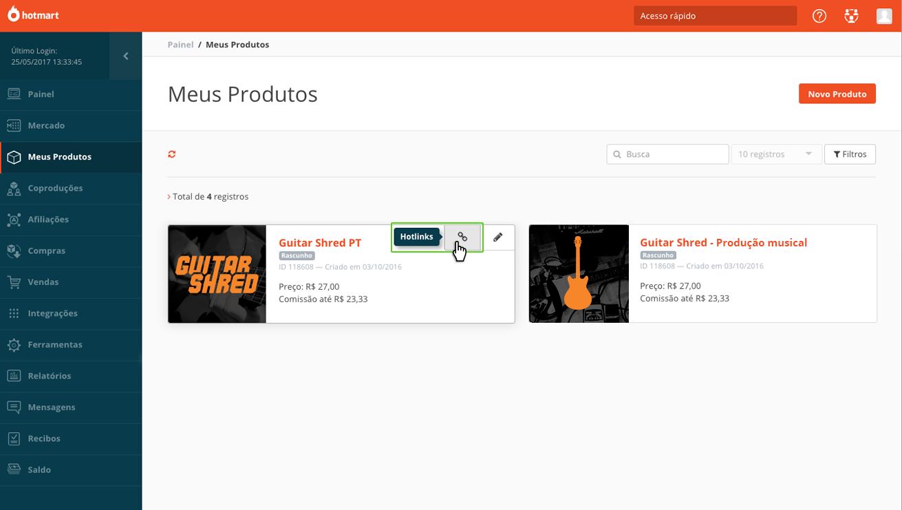Na imagem, clique em Hotlinks de produto para configurar checkout pré-populado