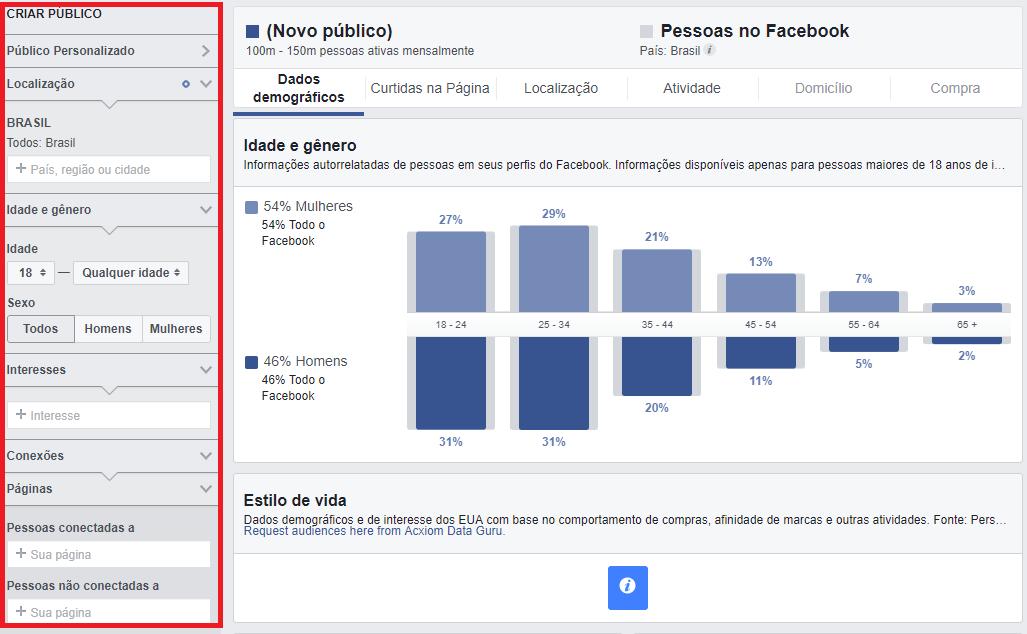 imagem dp Facebook audience insights