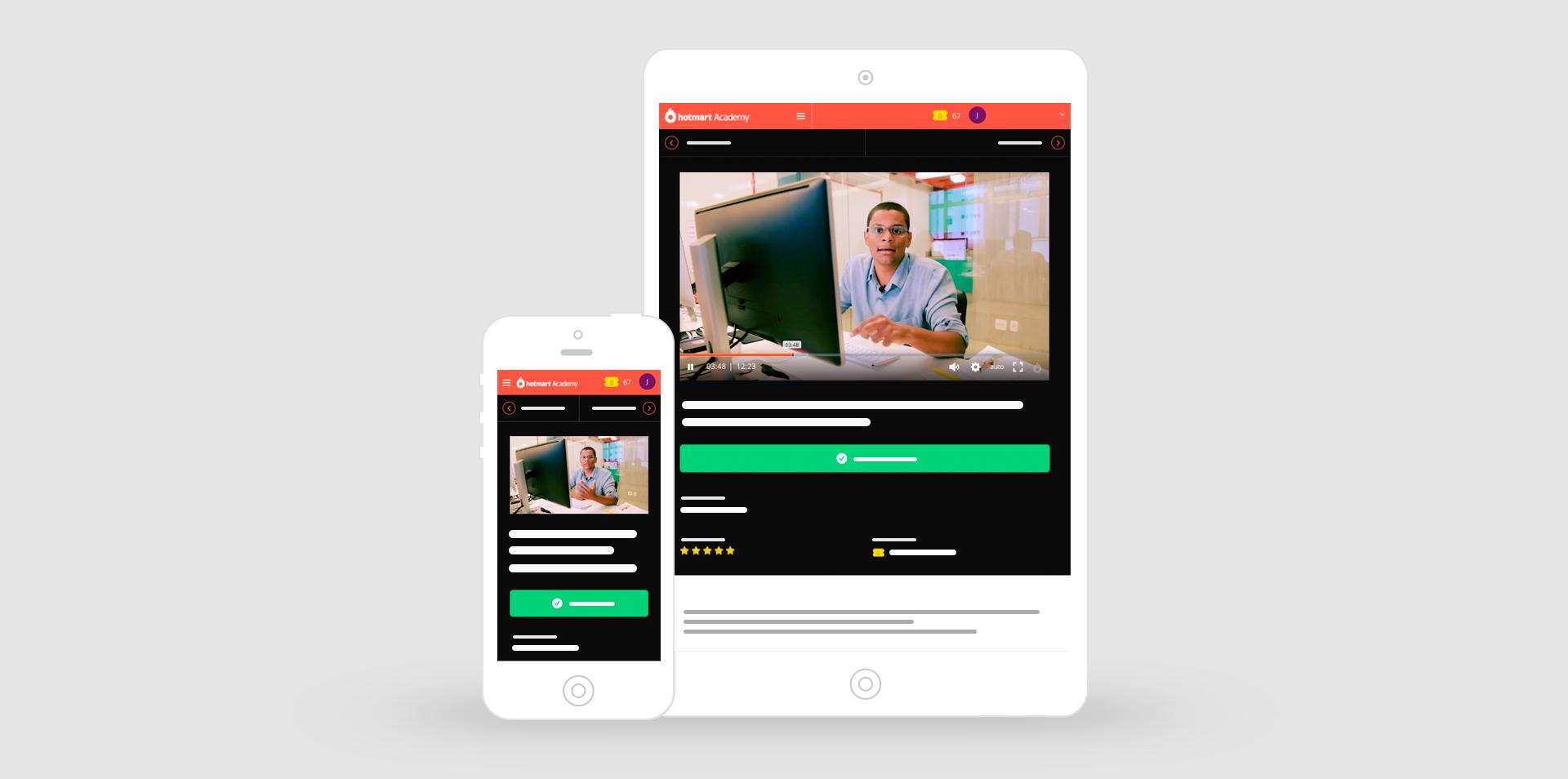 En la imagen, la plataforma del Hotmart Club en un tablet y en un smartphone