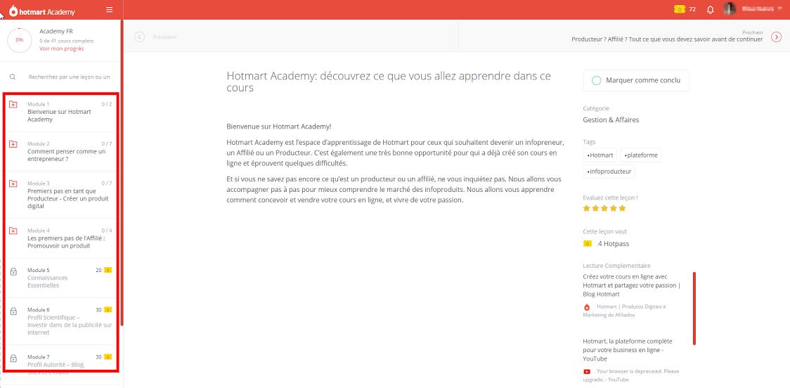 Interface Academy cours en ligne