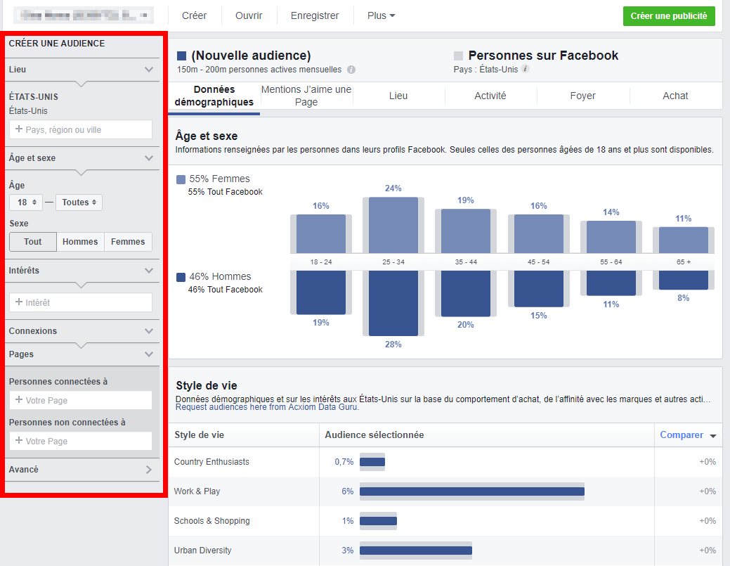 Interface Facebook Audience Insights