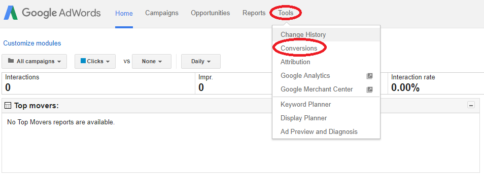 Adwords select conversions at tools