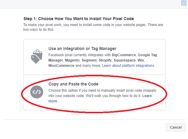 Copy and past code