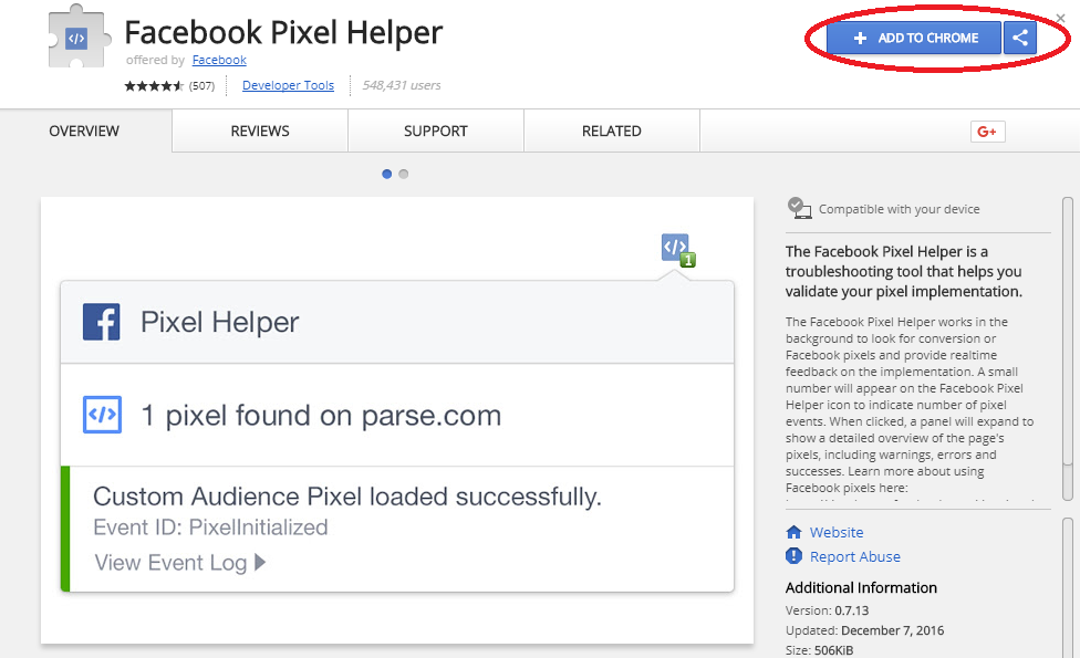 Install the Facebook Pixel Helper extension