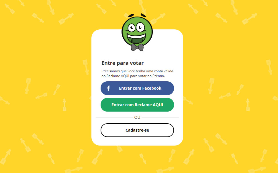na imagem, a imagem de login para votar no premio reclameaqui