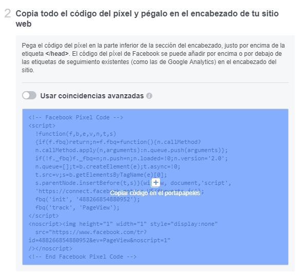 Copia el código del píxel