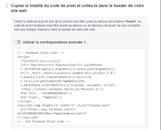 Copie code de pixel