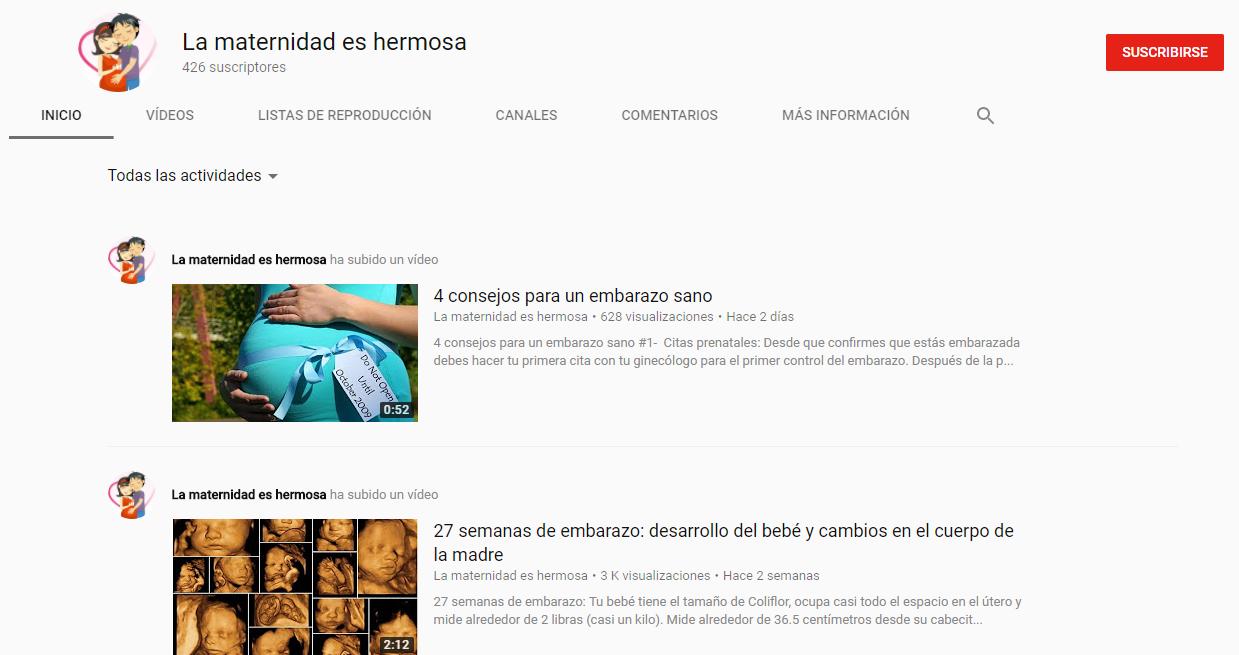 Pagina inicio del canal La maternidad es hermosa