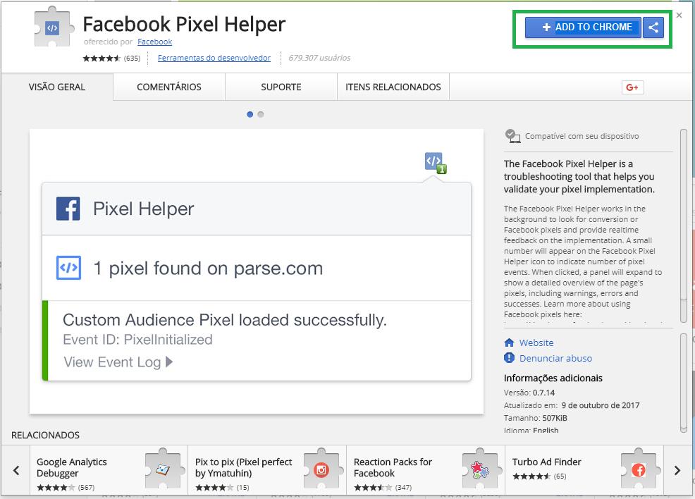 تثبيت اللاحقة Facebook Pixel Helper