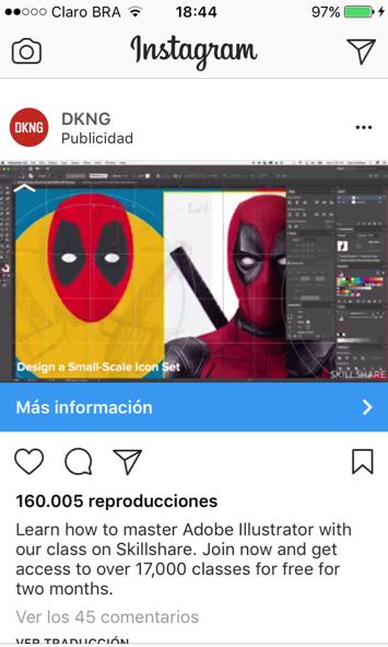 Ejemplo de publicidad en Instagram de vídeo