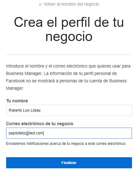 Pantalla de la página de crear el perfil comercial en Facebook