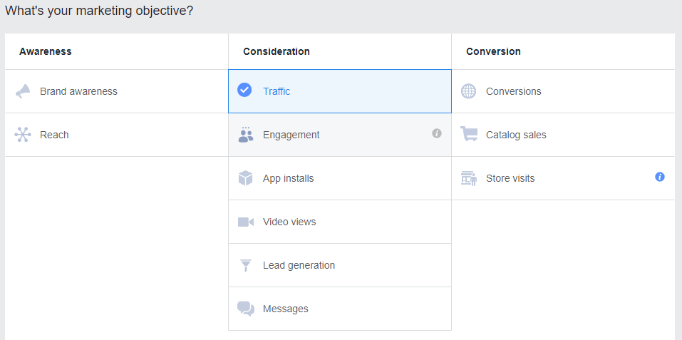 Create campaign - choose name, group and goal screen on Facebook