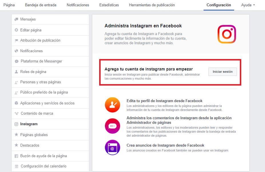 Menu configuración - administra Instagram en Facebook