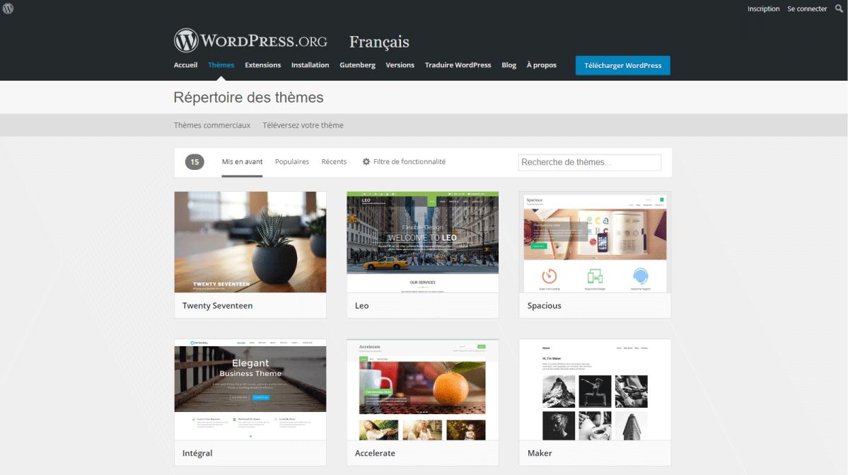 Créer un blog - La page des thémes sur wordprees.org